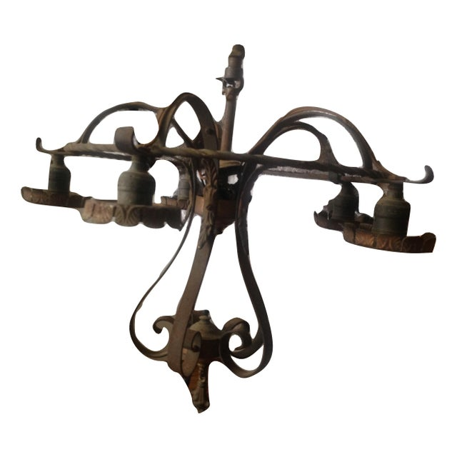 Vintage Gothic Revival Black Metal Chandelier For Sale In New York - Image 6 of 11