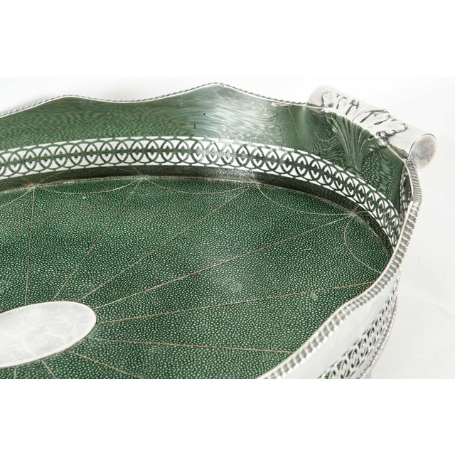 Silver English Plated Shagreen Interior High Border Gallery Tray For Sale - Image 8 of 10