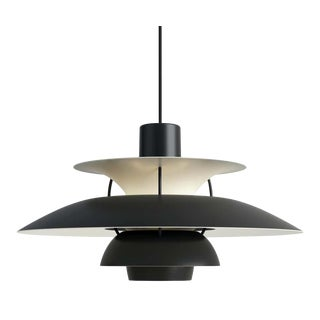Poul Henningsen Ph 5 Pendant for Louis Poulsen in All Black For Sale
