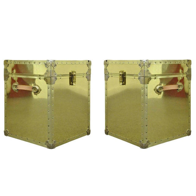 1970s Hollywood Regency Brass Clad Trunks Chest Side Tables - a Pair For Sale