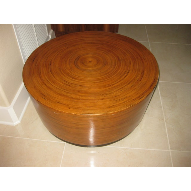 """Mid-Century Modern Mid-Century Modern Round Drum Low Table 30"""" For Sale - Image 3 of 12"""