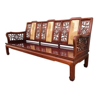 """Vintage Chinese Carved Rosewood 73"""" Settee For Sale"""