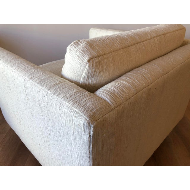 Scandinavian Vintage Modern Box / Club Chair With Boucle Upholstery and Walnut Base For Sale In Seattle - Image 6 of 12