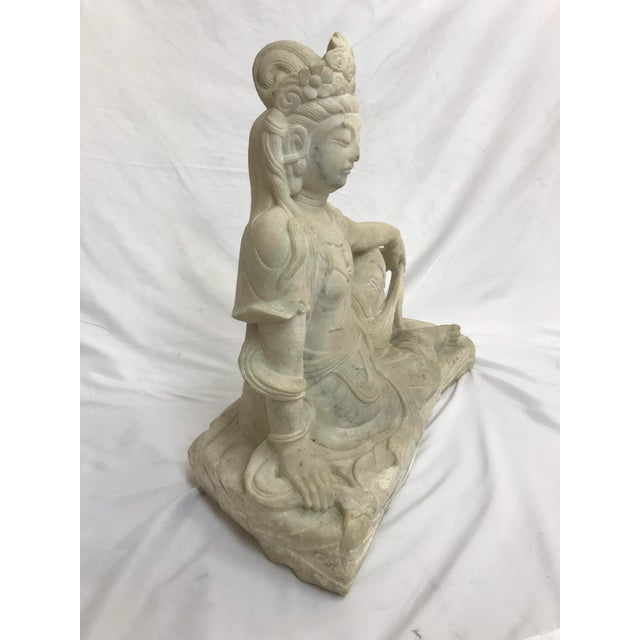 Guanyin / Guan Yin Bodhisattva Carved Marble Immortal Reclining Buddha Figure For Sale In Portland, OR - Image 6 of 12
