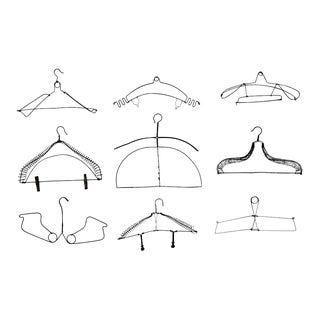 Collection of Antique Wire Clothing Hangers - Set of 9 For Sale