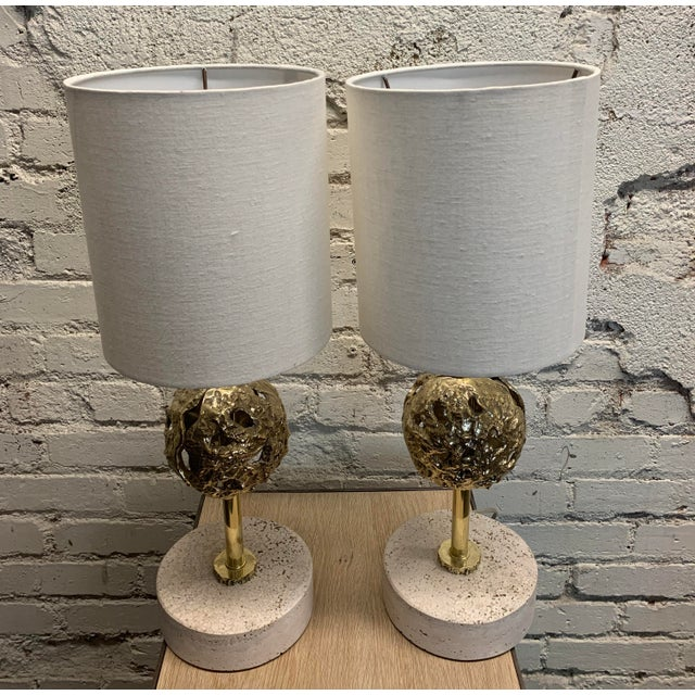 Metal Mid-Century Table Lamps With Shades - a Pair For Sale - Image 7 of 7