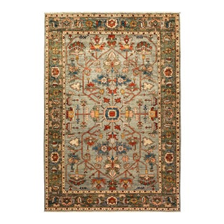 One-Of-A-Kind Oriental Serapi Hand-Knotted Area Rug, Sage, 6' 3 X 9' 4 For Sale