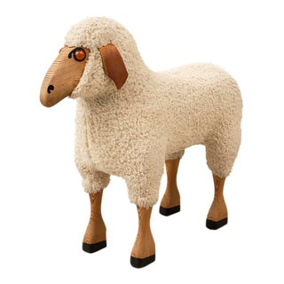 Life-Sized Sheep in Sheepskin and Beech, Germany, 1970s For Sale