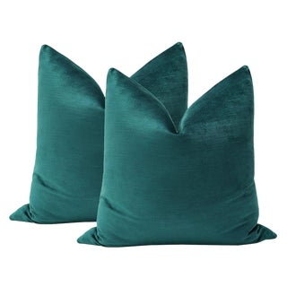 "22"" Corded Velvet Teal Pillows - a Pair"