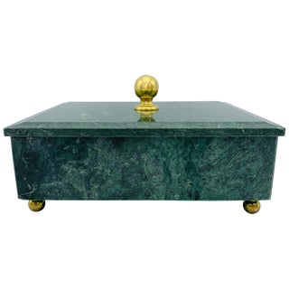 1960s Modern Italian Marble and Brass Footed Box For Sale