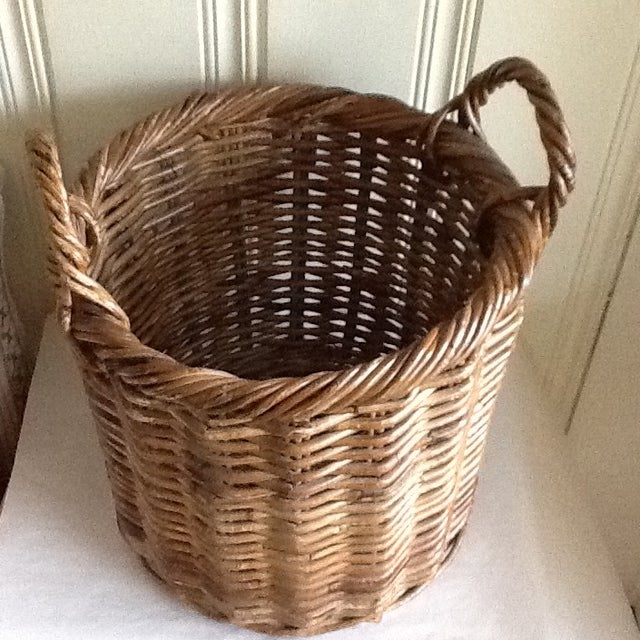 Large Natural Wood Wicker Basket - Image 4 of 6