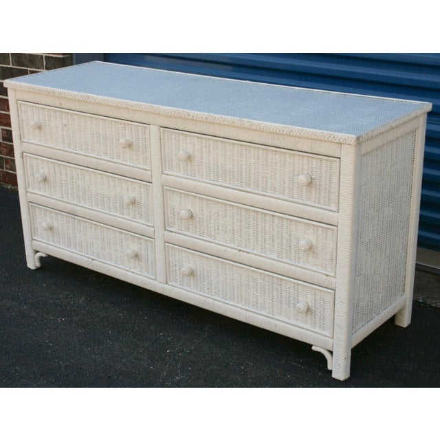 Henry Link White Wicker 6-Drawer Double Dresser - Image 5 of 11