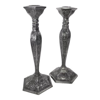 Pair of Antique 1900's Silver Plated Dutch Repousse Candlesticks Candle Holders For Sale