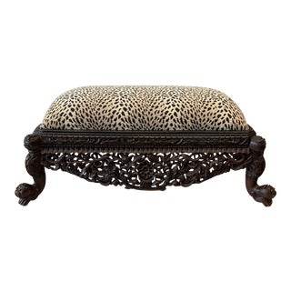 Anglo Indian Pierce Carved Bench For Sale