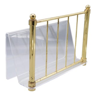 1980s Hollywood Regency Mid Century Brass and Lucite Magazine Rack For Sale