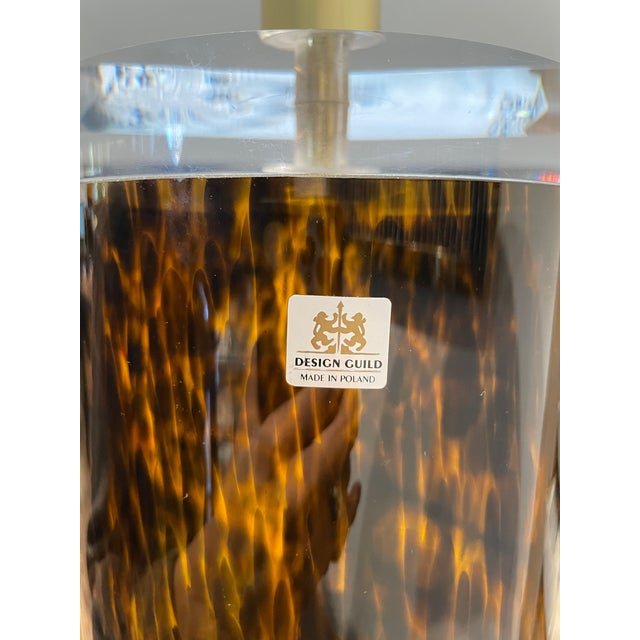 Brown Mid-Century Modern Lucite and Faux Tortoiseshell Italian-Made Glass Table Lamps For Sale - Image 8 of 9