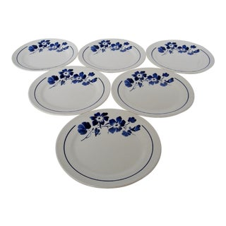 French Stoneware Salad Plates, Set of 6 For Sale