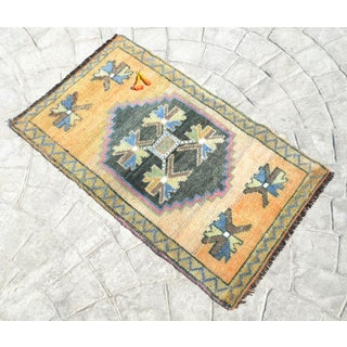 Distressed Low Pile Rug Turkish Yastik Small Rug Faded Colors Mat - 22'' X 37'' Preview