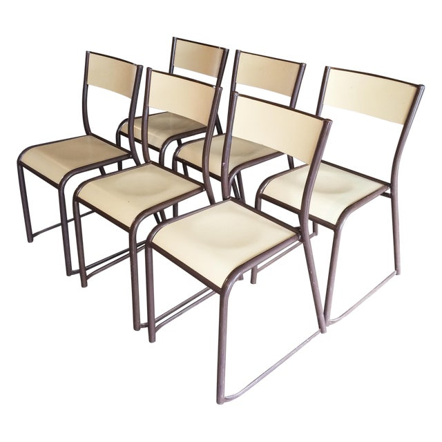 French Vintage Industrial Dining Chairs - Set of 6 - Image 1 of 10