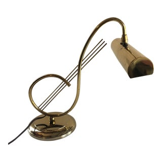 Vintage Laurel Brass Desk/Piano Lamp Clef Note Mid Century For Sale