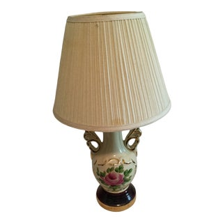 Vintage Hand Painted Rose Table Lamp For Sale