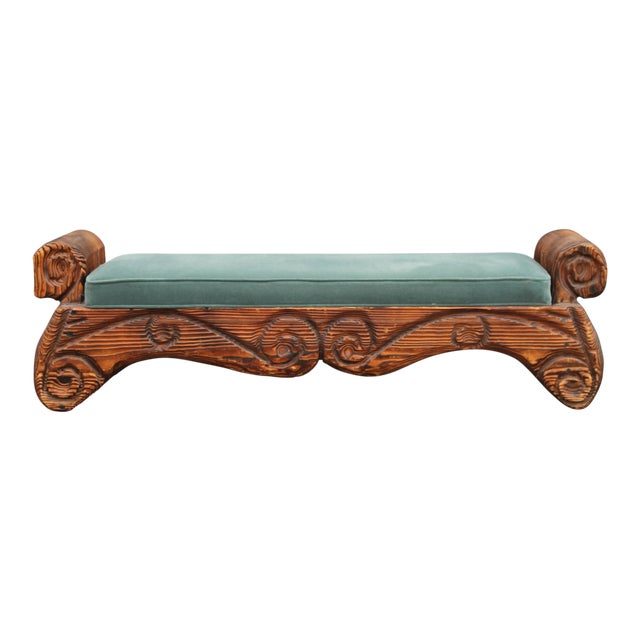 1940's Mid-Century Carved Wood Sitting Bench - Image 1 of 11