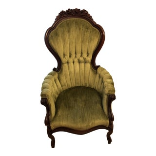 1950s Vintage Victorian Style Parlor Chair For Sale