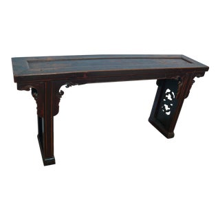Chinese Antique Mahogany Lacquer Bench in Original Patina For Sale