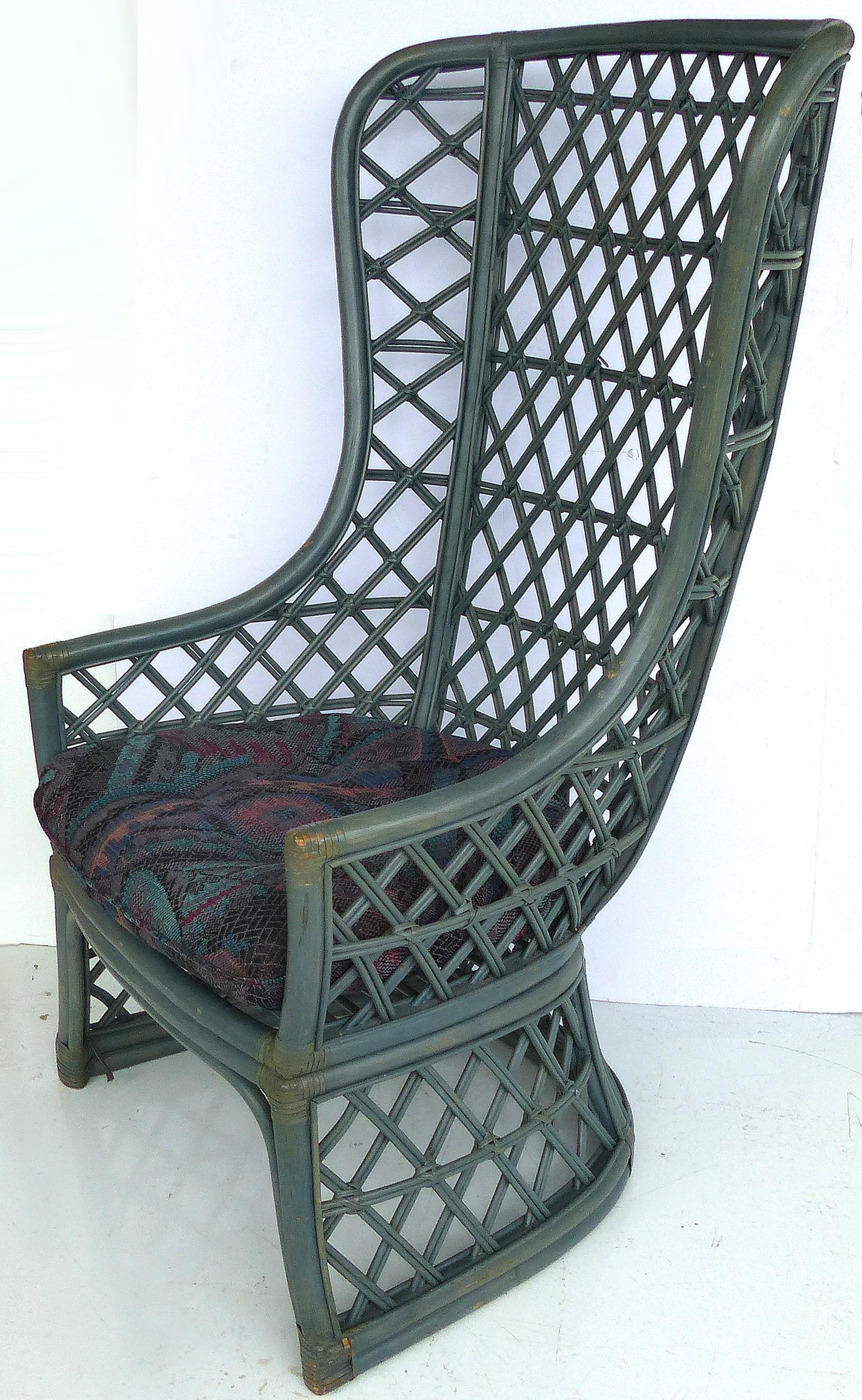 High Back Painted Rattan Chairs  A Pair   Image 3 Of 10