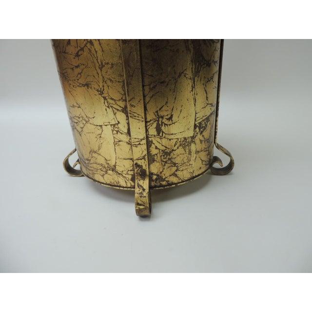 Art Deco Gold Vintage Oval Waste Basket For Sale - Image 3 of 7