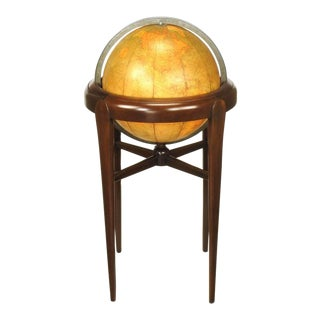 Replogle Illuminated Glass Globe on Mahogany Articulated Stand, circa 1940s For Sale