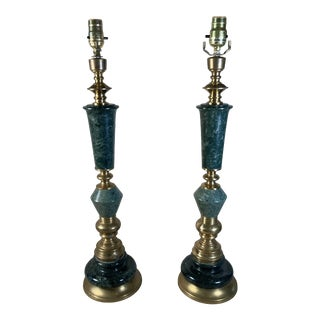 Mid Century Green Marble & Brass Lamps - a Pair For Sale