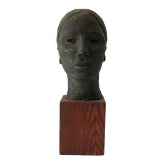 Mid 20th Century Female Bust Clay Sculpture For Sale