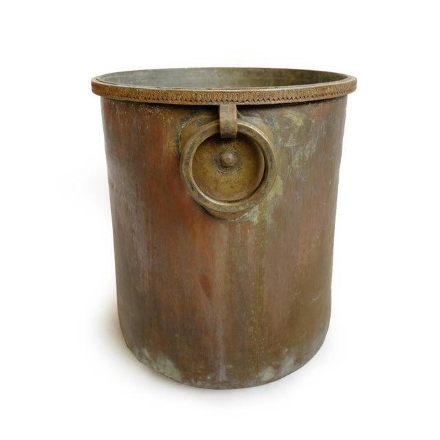 Antique Brass & Copper Hammered Pot For Sale - Image 4 of 8