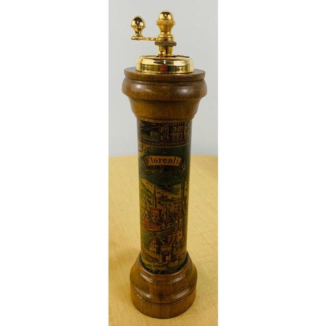 Vintage Map Design of Florentia Wood Salt Shaker & Pepper Grinder, a Pair For Sale - Image 4 of 13