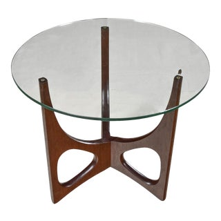 Mid Century Modern Walnut Tri-Leg Round Glass Top Side Table in the Style of Adrian Pearsall For Sale