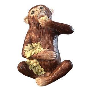 Vintage Italian Monkey Eating Grapes Ceramic Sculpture For Sale