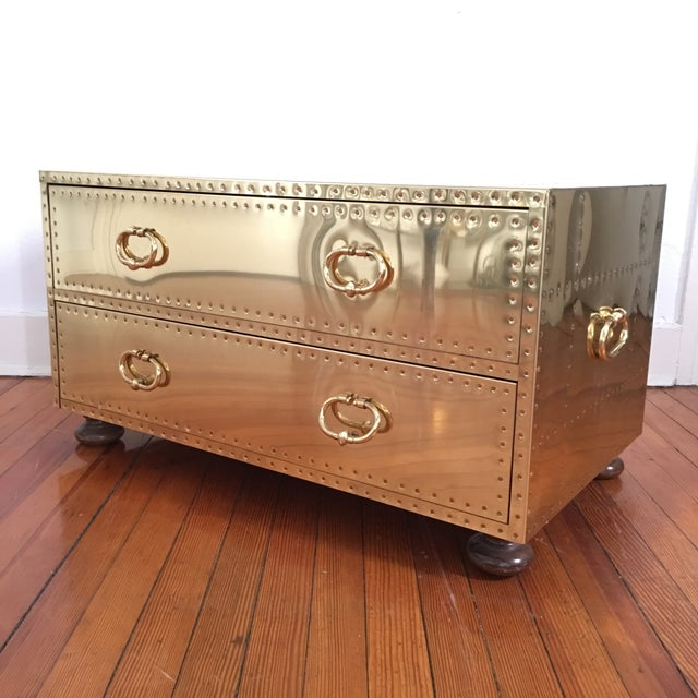 Yellow Sarreid LTD Brass 2 Drawer Trunk or Coffee Table For Sale - Image 8 of 11