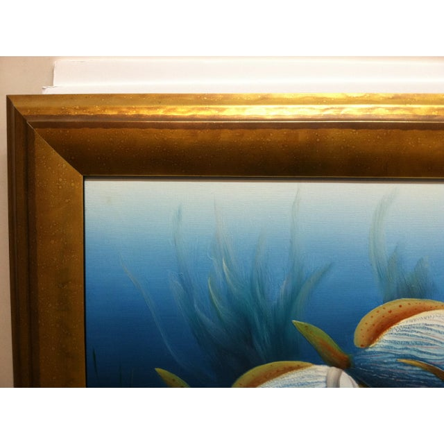 """Late 20th Century Late 20th Century C. Benolt """"Tropical Fish"""" Framed Original Painting For Sale - Image 5 of 7"""