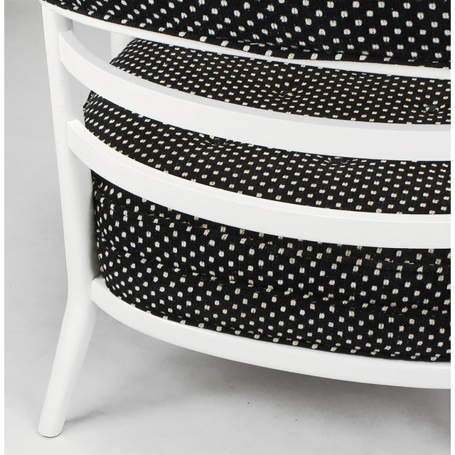 White Four Bert England White Lacquer & Black Polka Dot Lounge Chairs For Sale - Image 8 of 9