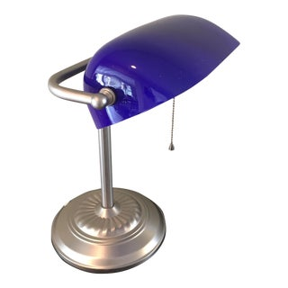 Vintage Blue Bankers Lamp