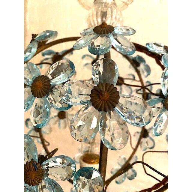 1950s Italian Crystal Flower Pendant Light For Sale - Image 5 of 12