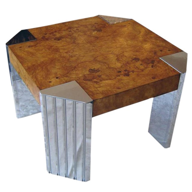 Milo Baughman Burl Wood & Nickel End Table For Sale