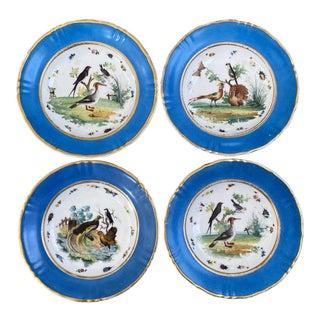 Antique Sevres Style Celeste Blue Bird Bowls - Set of 4 For Sale
