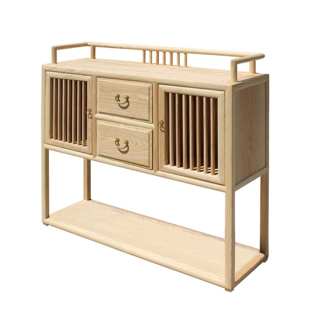 Chinese Raw Wood Open Display Storage Side Table Cabinet For Sale - Image 4 of 6