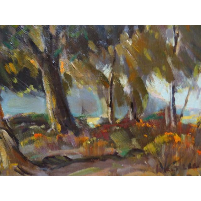 """Green 1950s Vintage Walt Lee """"After the Rain"""" Oil on Canvas Painting For Sale - Image 8 of 9"""