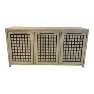 American Drew Industrial Modern Taupe Wood and Iron Sideboard For Sale