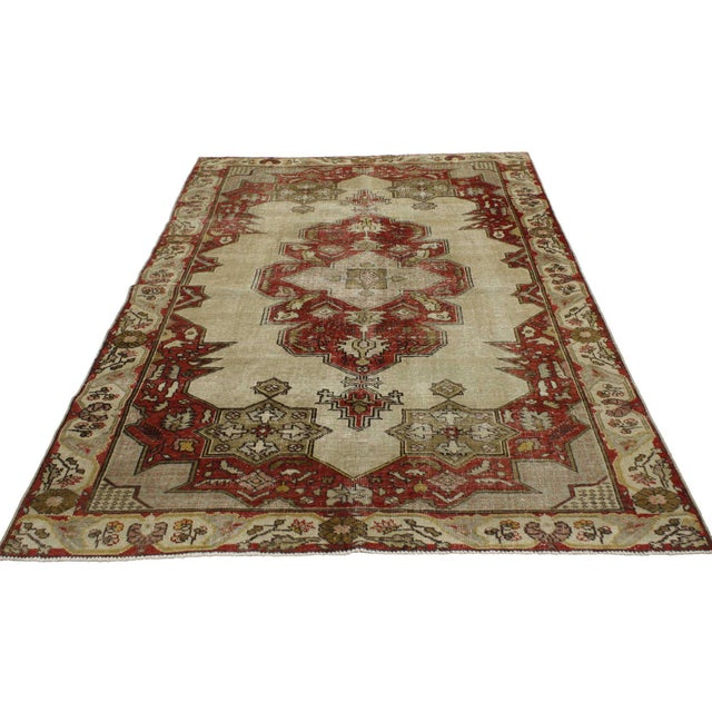 Rustic Vintage Turkish Oushak Rug With Art Deco Aristocrat Style - 04'08 X 06'11 For Sale - Image 3 of 5