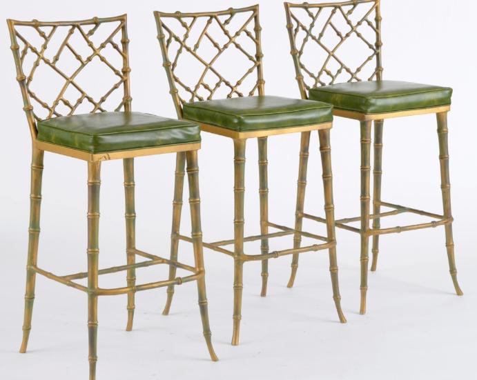 Faux Bamboo Kessler Barstools Set Of 3 Chairish