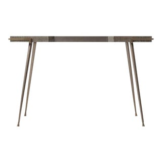 Modern Grey Oak and Leather Top Desk For Sale
